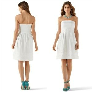 WHBM white strapless dress. Size 4